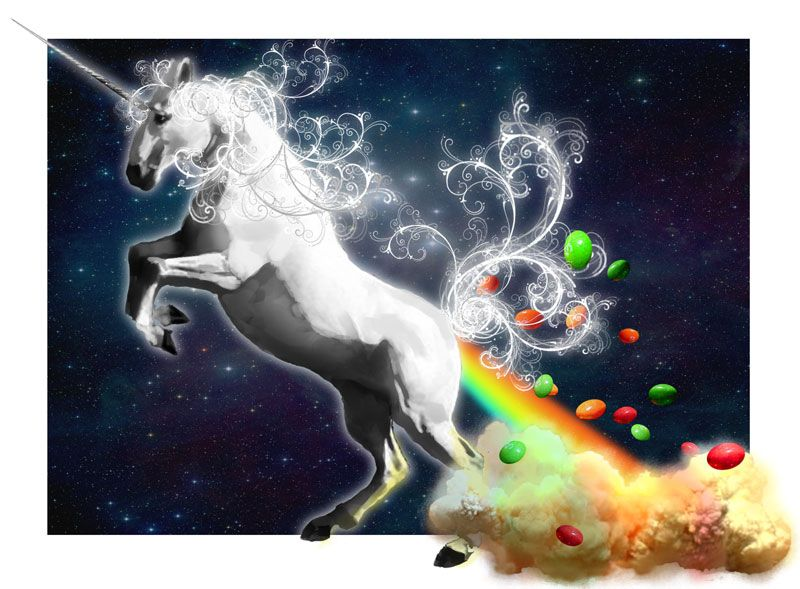 unicorn farting skittles