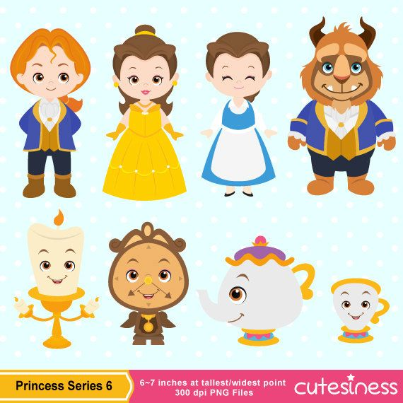 Beauty Beast Clipart Etsy In 2020 Beauty And The Beast Digital Clip Art Disney Crafts