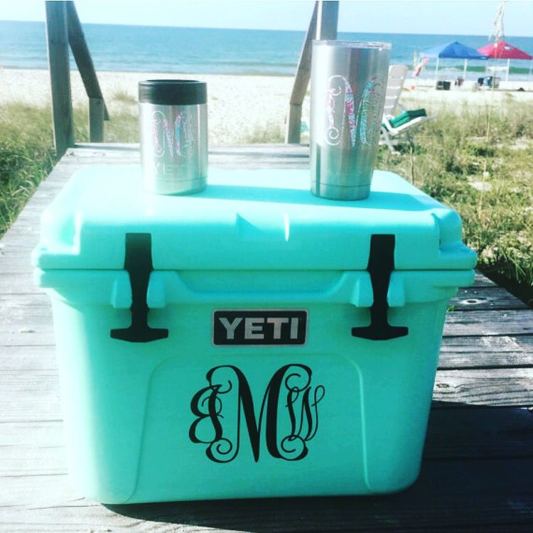 Custom yeti decals for coolers ramblers and colsters https www etsy com listing 261082984 monogram yeti decal