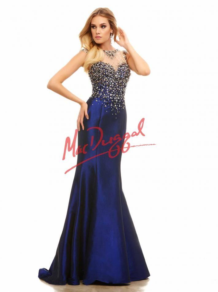 Midnight Blue Prom Dress | Rocker-Chic Gown | Taffeta Skirt | Mac ...