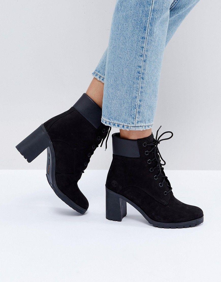 263154916690 TIMBERLAND ALLINGTON BLACK NUBUCK HEELED ANKLE BOOTS - BLACK.  timberland   shoes