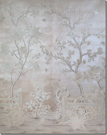 silver leaf hand painted wallpaper wall love Gracie
