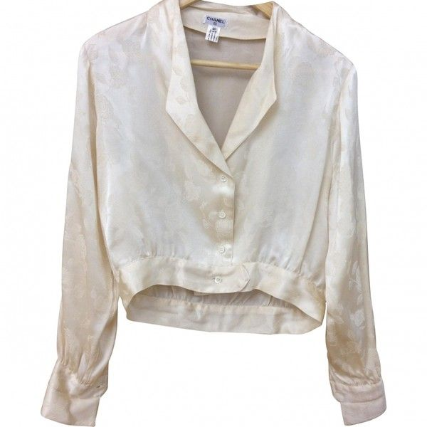 56bb6314ffa57 SILK ROSE PATTERN BLOUSE CHANEL ( 513) ❤ liked on Polyvore featuring tops