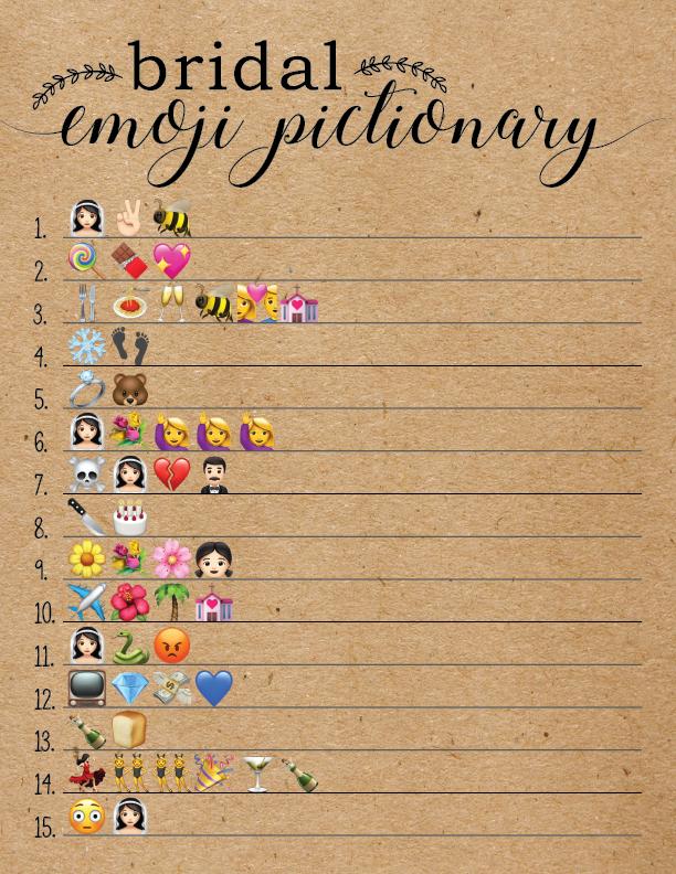 bridal shower games bridal emoji pictionary so cute