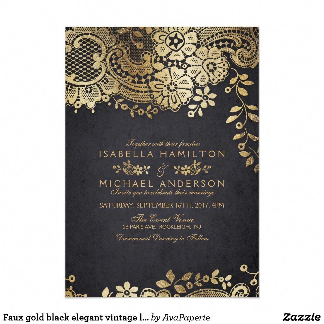 Faux Gold Black Elegant Vintage Lace Wedding Invitation Zazzle Com Vintage Wedding Invitations Lace Lace Wedding Invitations Sparkle Wedding Invitations
