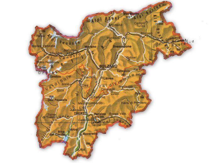 Trentino Alto Adige Cartina Stradale.Cartina Geografica Trentino Alto Adige Alto Adige Geografia Alto