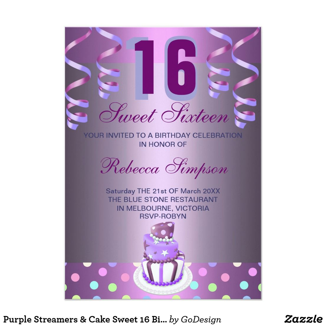 Purple Streamers & Cake Sweet 16 Birthday Invite Modern Purple ...