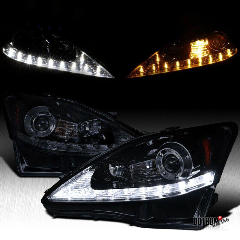 Ad Ebay Black Smoke For 2006 2009 Lexus Is250 Led Drl Signal Strip Projector Headlights Lexus Is250 Lexus Projector Headlights
