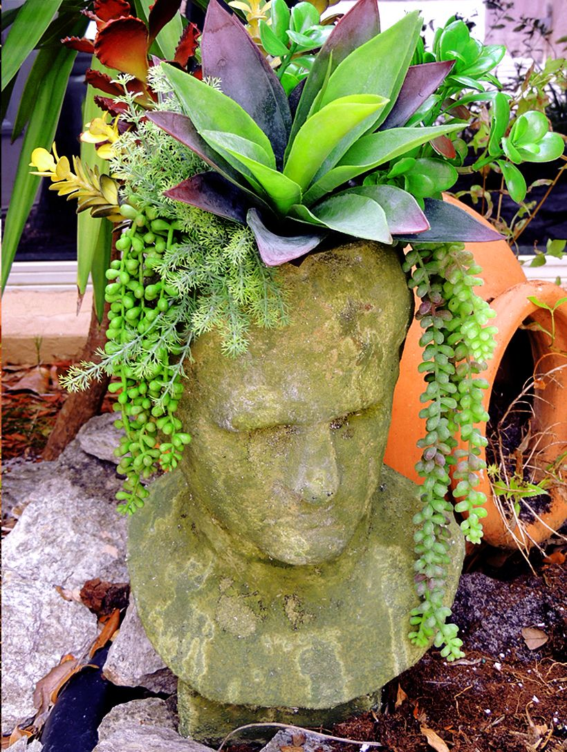 Head Planters Head Planter With Faux Agave Arrangement Includes Faux Agave