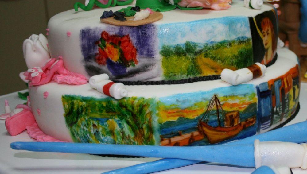 i quadri dipinti sulla torta sono tutti di famosi pittori