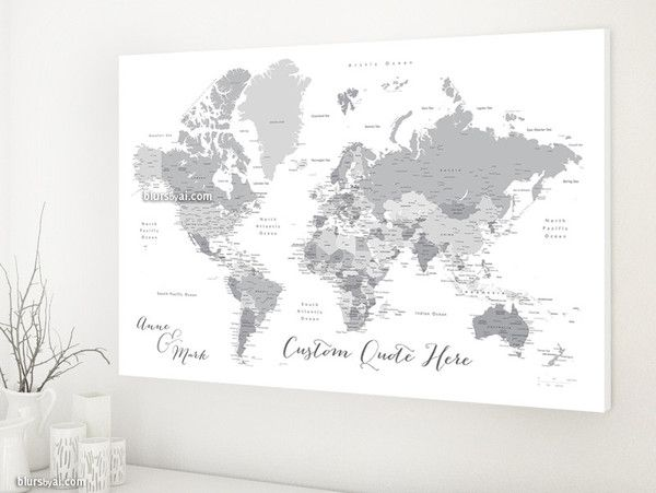 Custom quote printable world map with cities capitals custom quote grayscale world map canvas print personalized canvas travel pinboard gray world map with cities boyfriend gift gumiabroncs Image collections