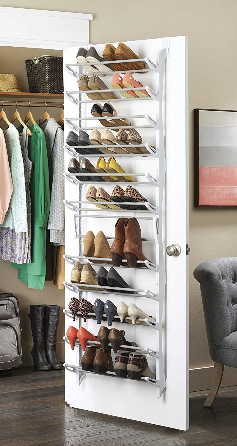 A 36 Pair Over Door Shoe Rack To Turn The Mess On Your Closet Floor Into A  Neatly Stacked Display.