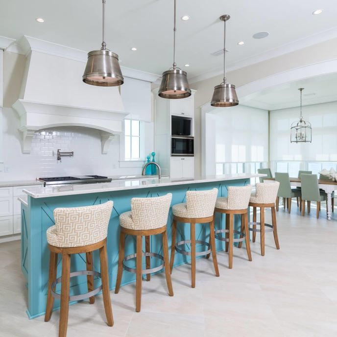 Coastal Chic Kitchen   ProSource Wholesale    This spacious kitchen combines the warmth of the sun with the blues and greens of the sea.