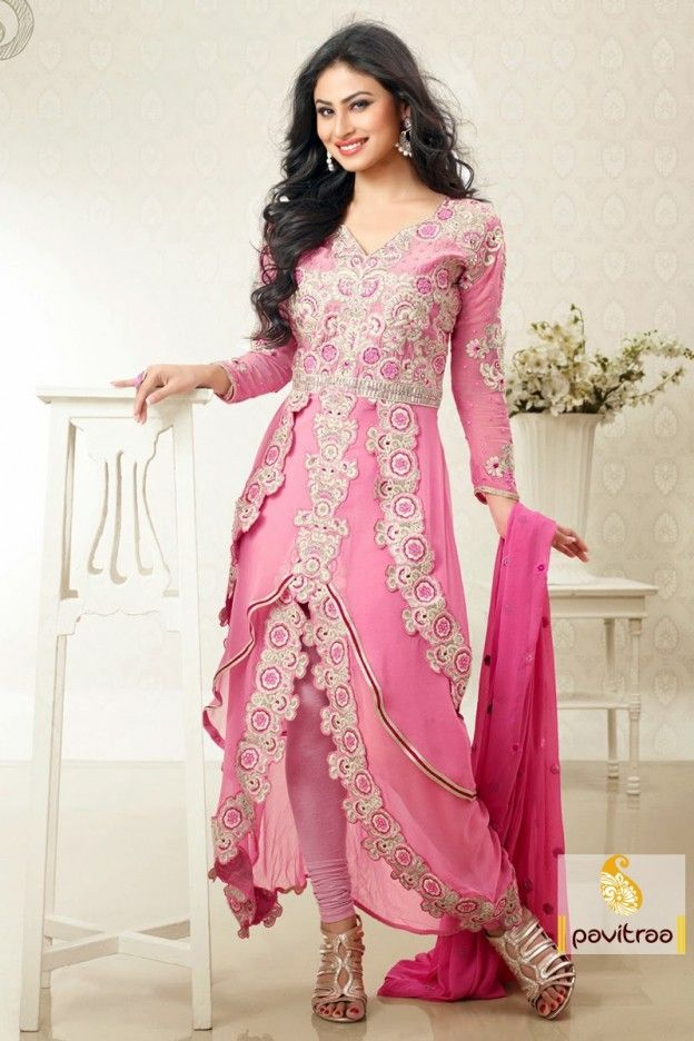 Buy Online pink color long length party Wear Salwar Suit at ...