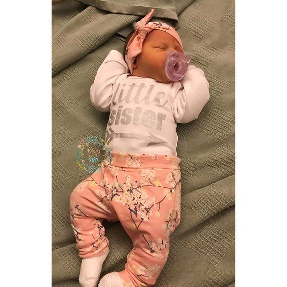 new concept 75a06 1c93b Baby girl little sister newborn coming home outfit pink ...