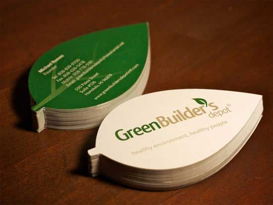 Green builders depot a leaf shaped die cut card for green builders green builders depot a leaf shaped die cut card for green builders depot an environment friendly retail building supply store in honolulu reheart Images
