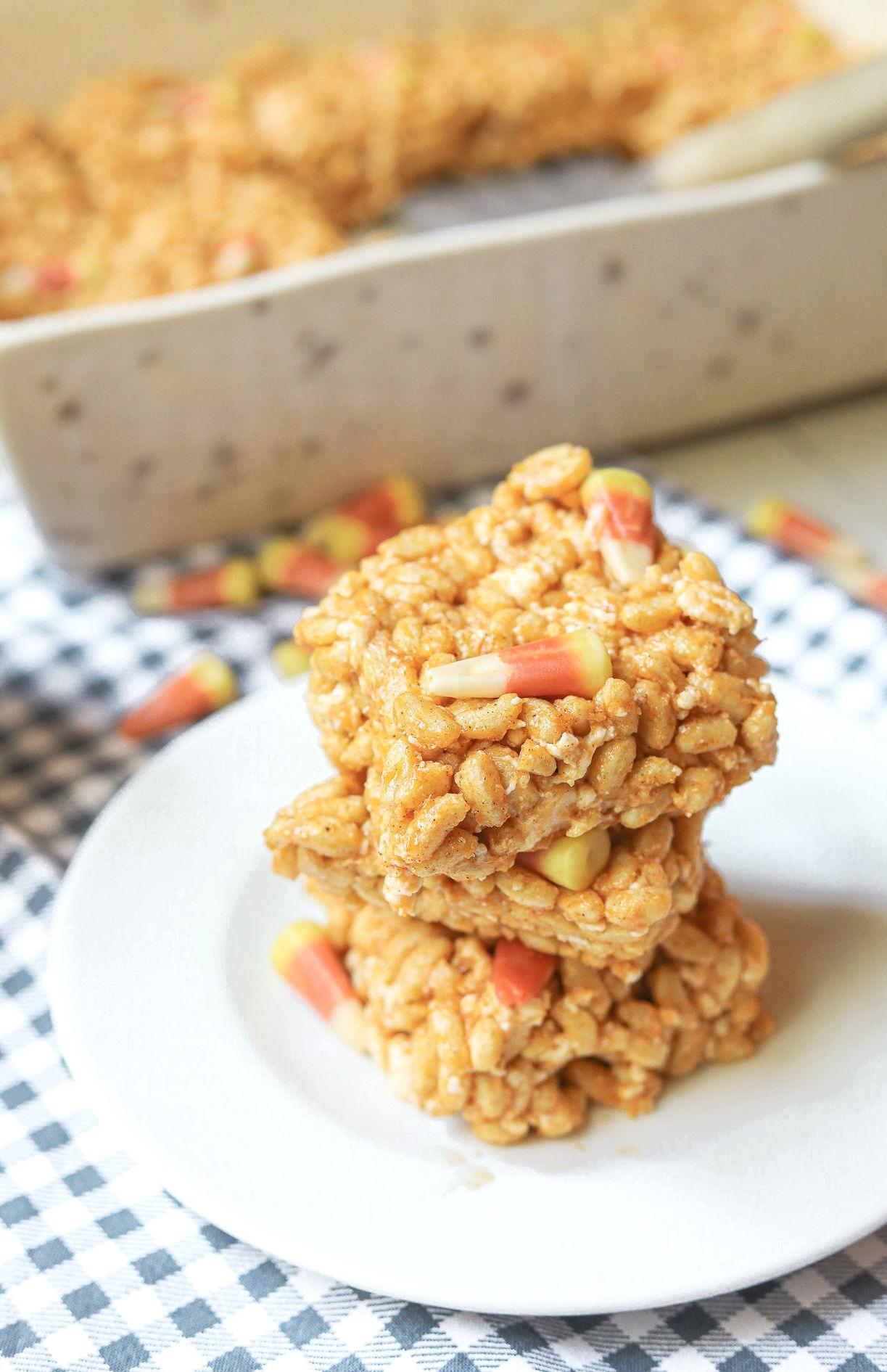 NoBake Pumpkin Spice Rice Krispie Treats GlutenFree