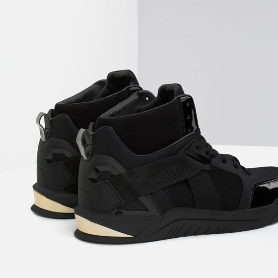 a13b4ee7f6933f Image 3 of HIGH-TOP SNEAKER WITH METAL DETAIL from Zara | Outfitspo ...