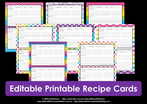 Printable Recipe Card Editable Template Pdf Sheet Recipe Page