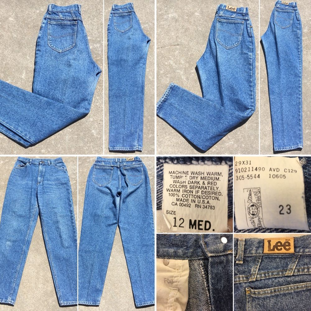 "e35aa54e Vintage Lee Jeans High Waist Tapered Leg 12 Med 29"" Waisf Union Made In USA  