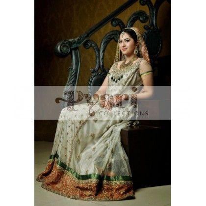 Off White & Orange Bridal Gown   Ghagras   Pinterest   Bridal gowns ...