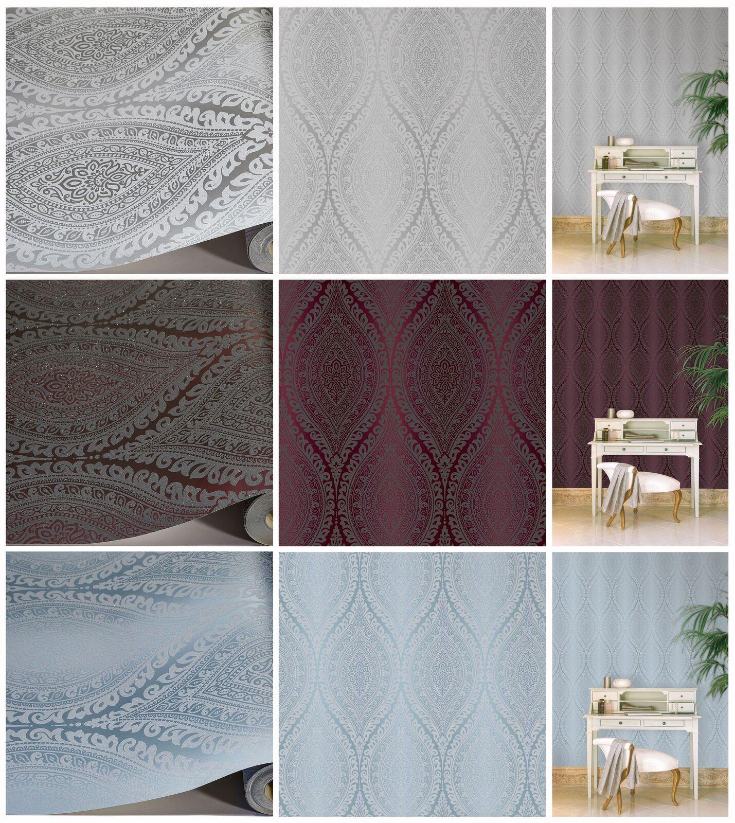 Damask Wallpaper Metallic Glitter Sparkle Textured Embossed Luxury Vinyl  | eBay