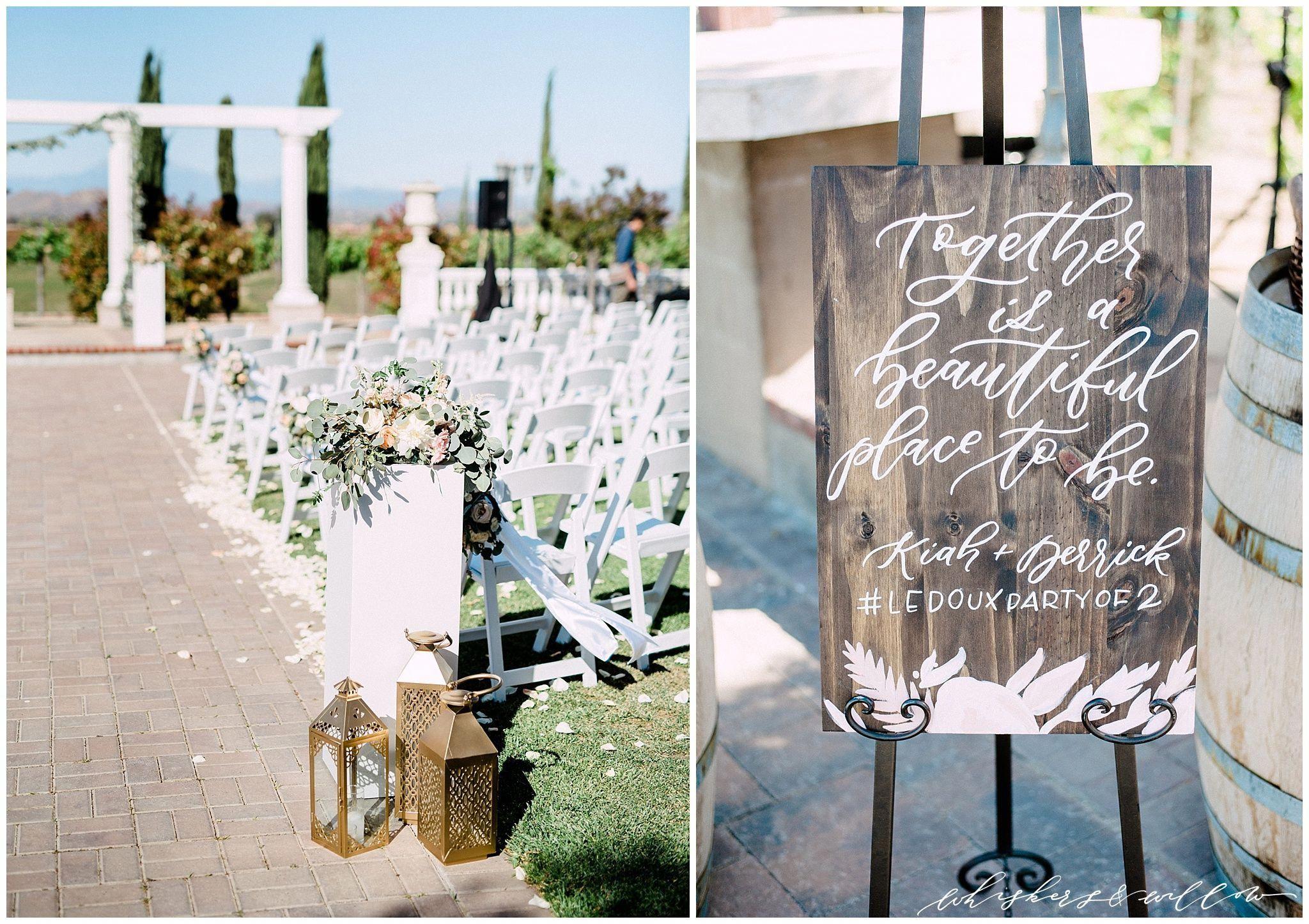Mount Palomar Winery Wedding Temecula Ceremony Site Signage By Le And Toast Blush Fls Posh Peony San Go Fine Art