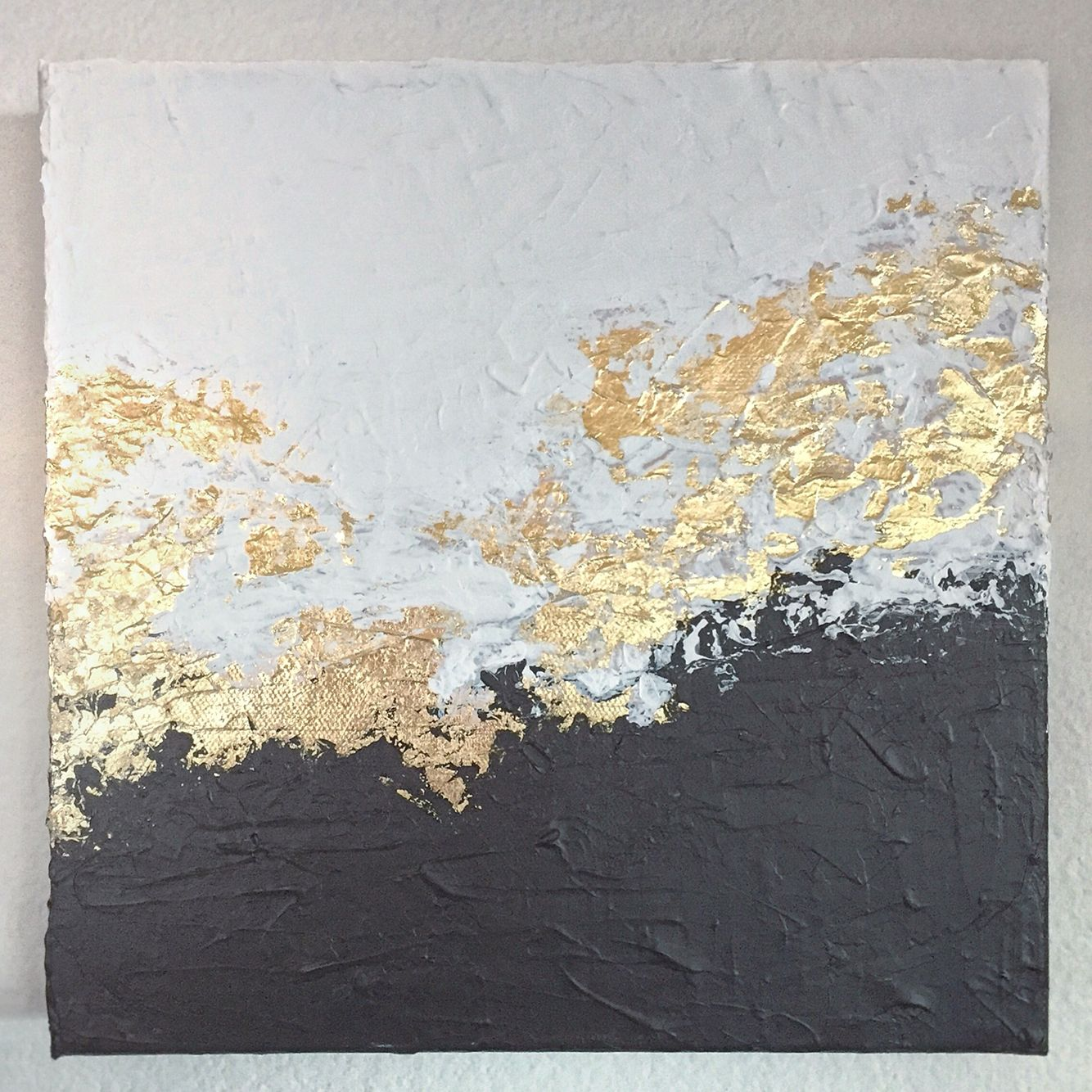 White and black gold foil leaf foiling paintings for White canvas painting