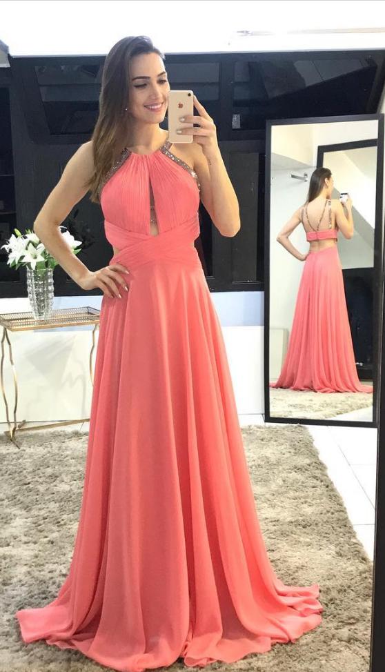 584e341fb6e Coral Chiffon Prom Dresses