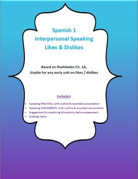 Spanish 1 - Interpersonal Speaking (Likes & Dislikes