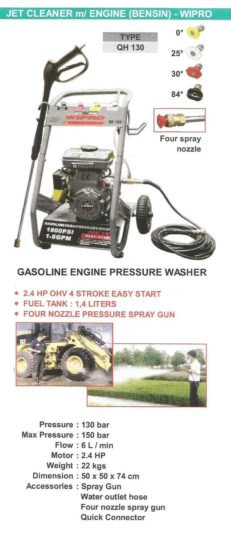 Gasoline Engine Pressure Washer Jet Cleaner Mesin Bensin