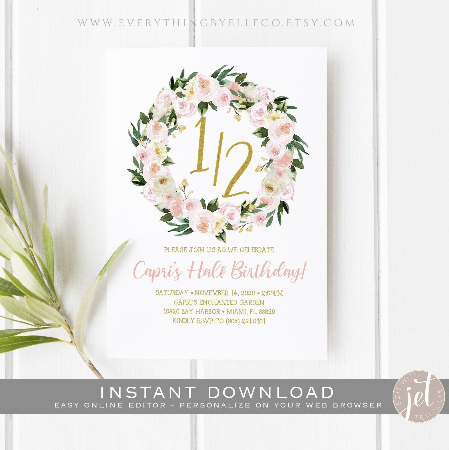 printable boho 1 2 birthday invitation