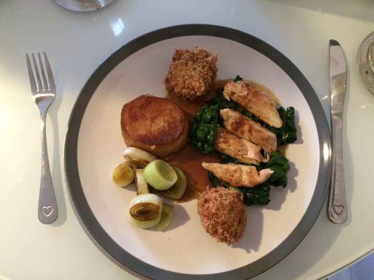pan-roasted breast of guinea fowl, leg-meat croquettes, fondant ...