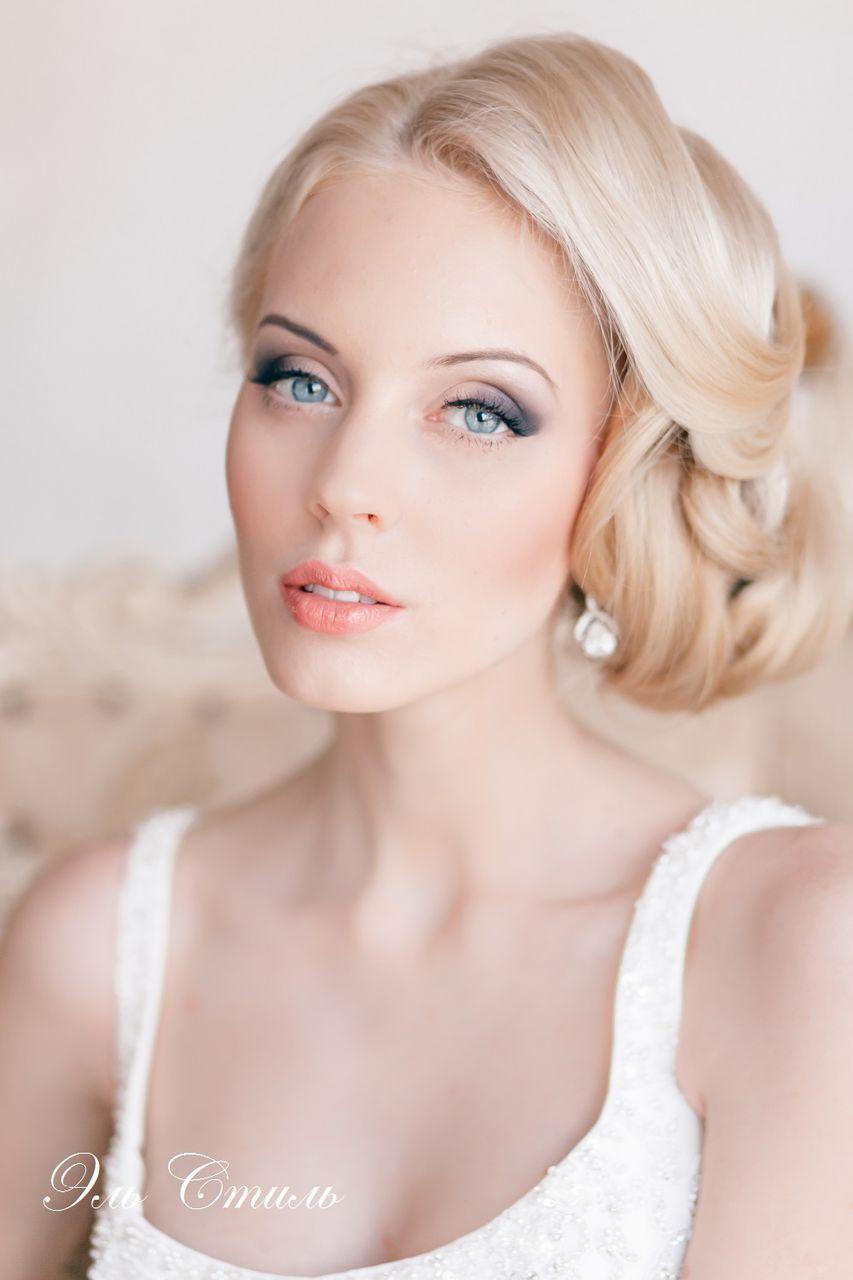 Wedding hairstyle with sleek side updo u neutral makeup makeup