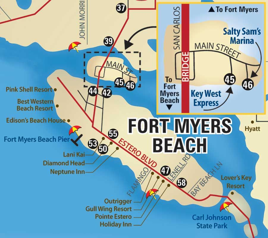 lay of the island with key points of interest fort myers and