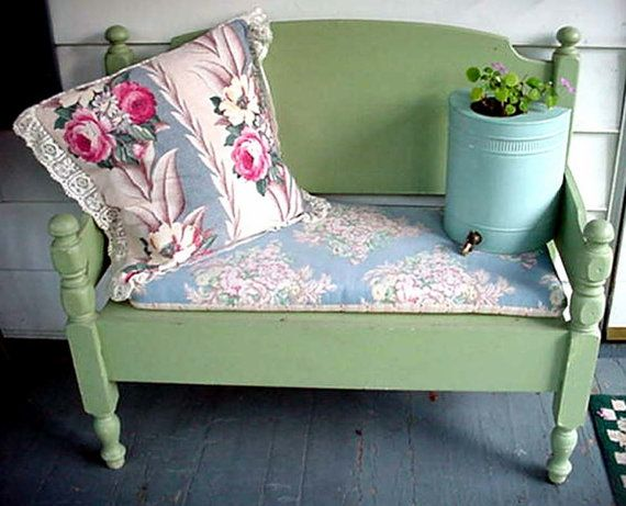 Reserved Sale Handmade Bench From A Victorian Bed Prairie Cottage Chic Painted Paris Gray