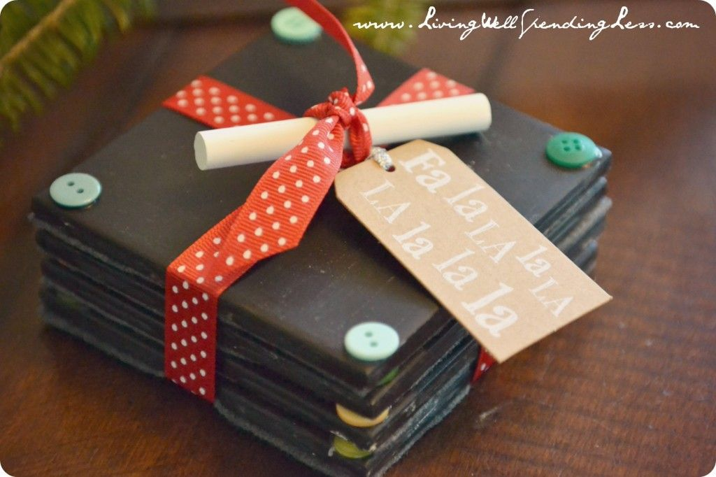 diy chalkboard coaster set tutorial handmade gift idea super cute idea for teachers homemade christmas gifts