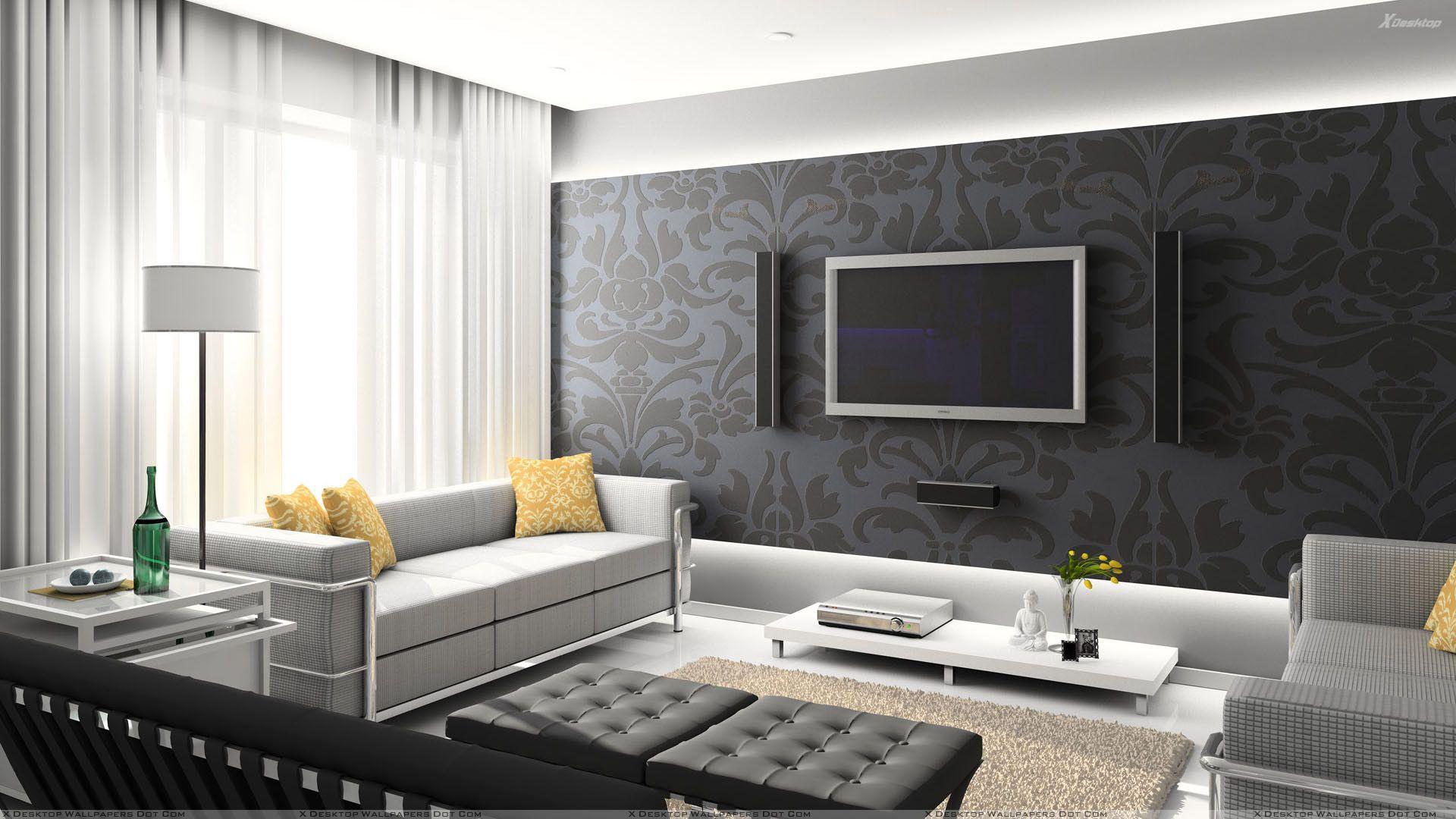 Black Digital Interior Hd Wallpaper Contemporary Living Room
