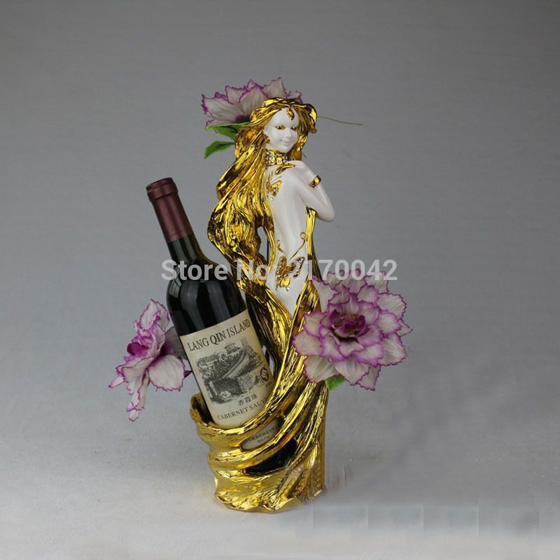 Europe Gold Resin Genius Tabletop Wine Holder Beautiful Girl Wine Bottle Wine Rack For Home Bar Table Decoration H/40cm