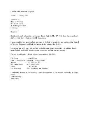 Surat Lamaran Kerja Hotel Bahasa Inggris Contoh Lamaran Kerja Dan