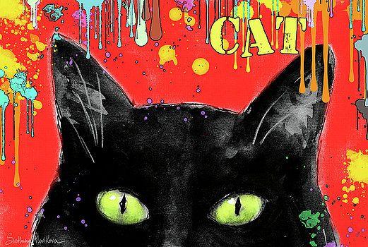 Svetlana Novikova - humorous Black cat painting