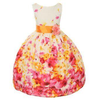 Kids Dream Fuchsia Flower Print Sash Easter Dress Little Girls 2T-12