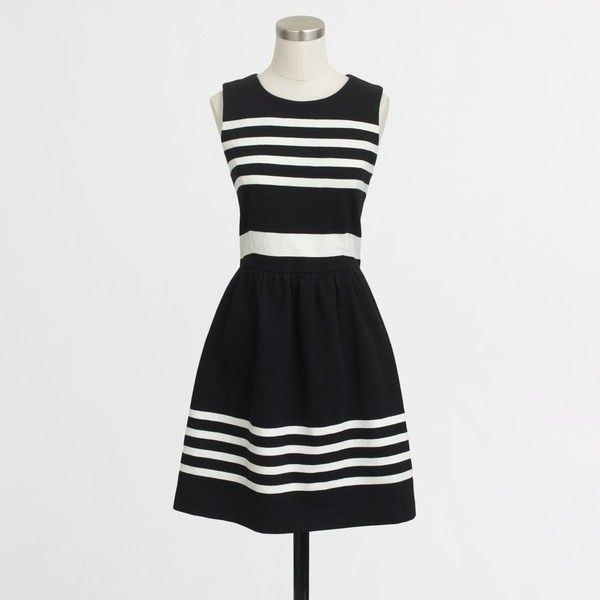 fe219bfb53b J.Crew Factory pleated ponte dress in stripe (65 CAD) ❤ liked on Polyvore  featuring dresses