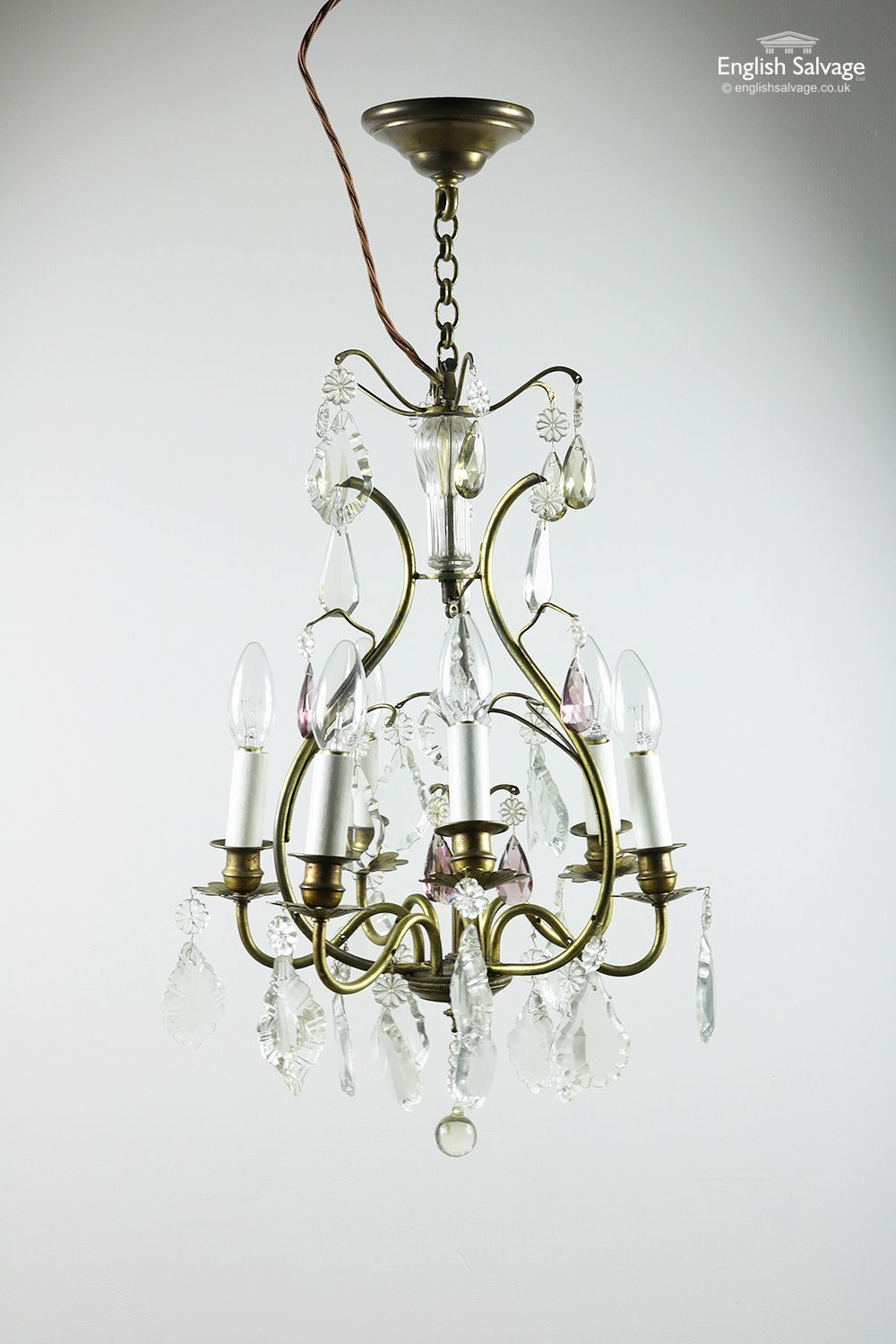 Vintage Six Arm Brass And Glass Chandelier