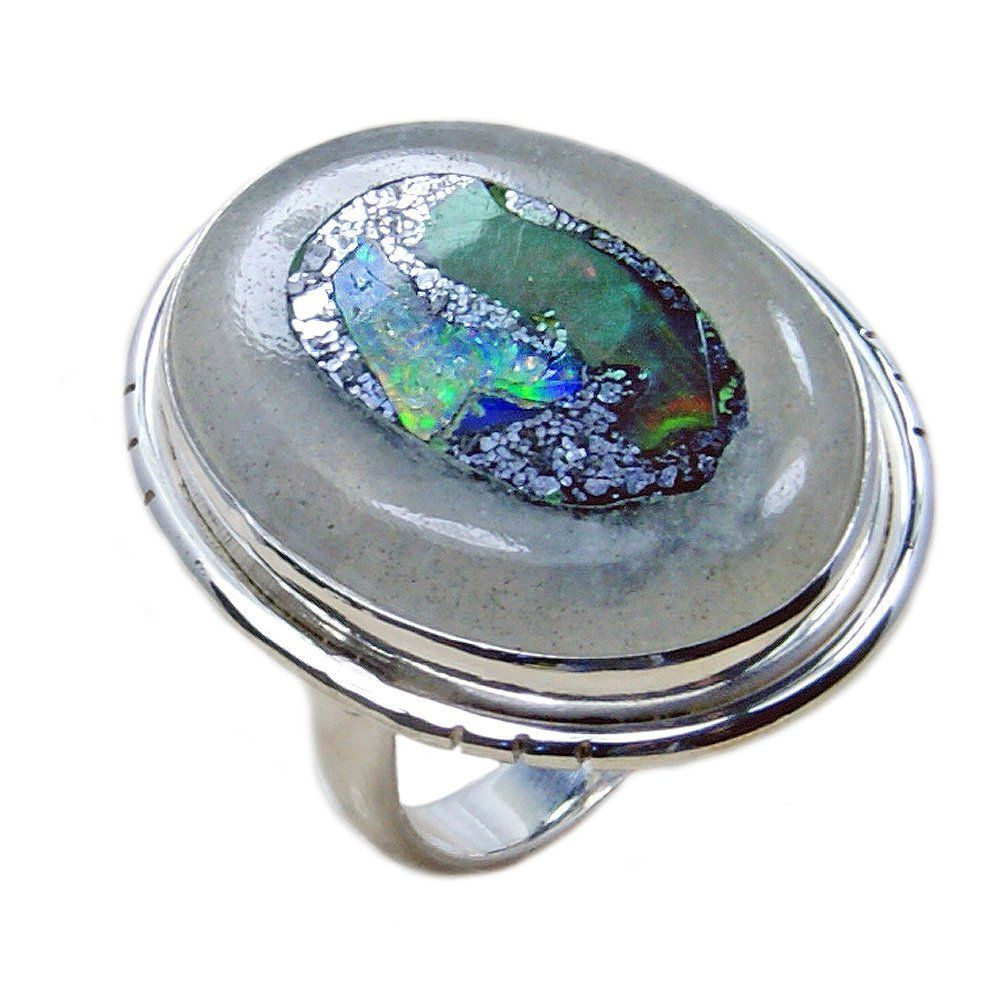King of Gems/' Large Rough Ethiopian Opal Ring Jewelry /& Sterling Silver Ring Size 5.75 AG264