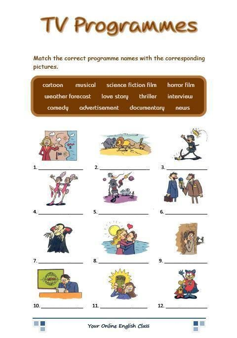 Tv Programs Programmes English Visual Vocabulary Pinterest