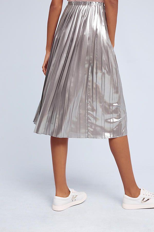 Slide View: 5: Levina Pleated Midi Skirt, Silver