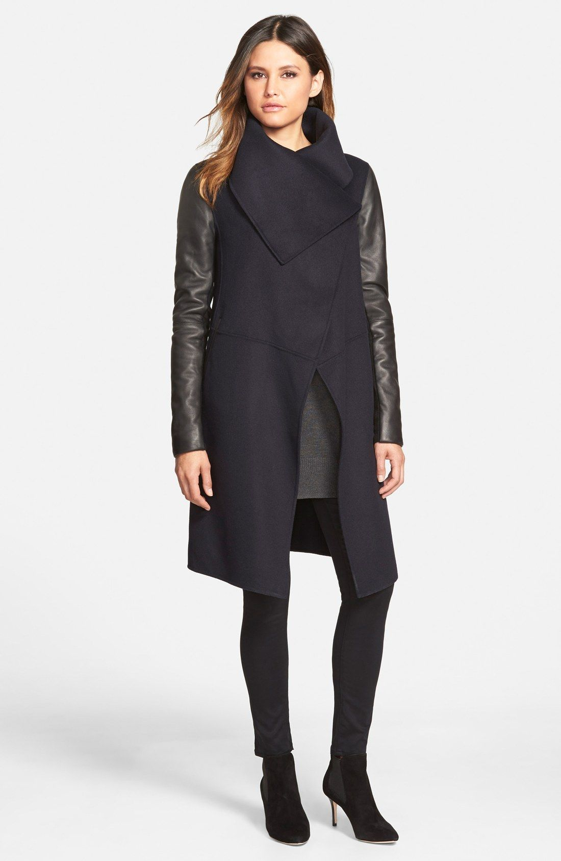 747d7b94ac2 Mackage Wool Blend Coat with Leather Sleeves