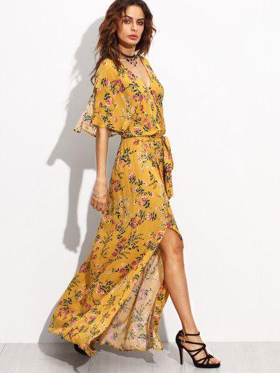 Vestido maxiabrigo con estampado y abertura lateral - amarillo ...