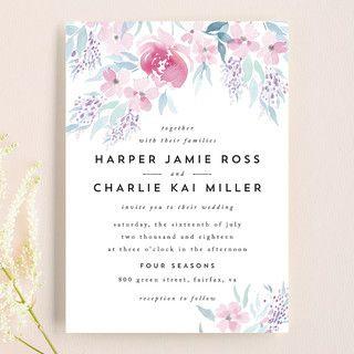 poetic watercolor flowers in 2018 wedding invitations pinterest